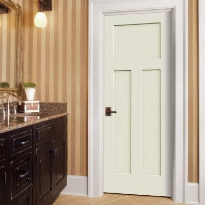 Elegant Craftsman Vanilla Painted Right Hand Smooth Molded Composite MDF Single  Prehung Interior Door