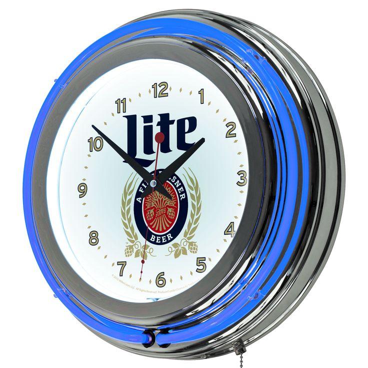 """Miller Lite 14.5"""" Double Ring Neon Clock"""