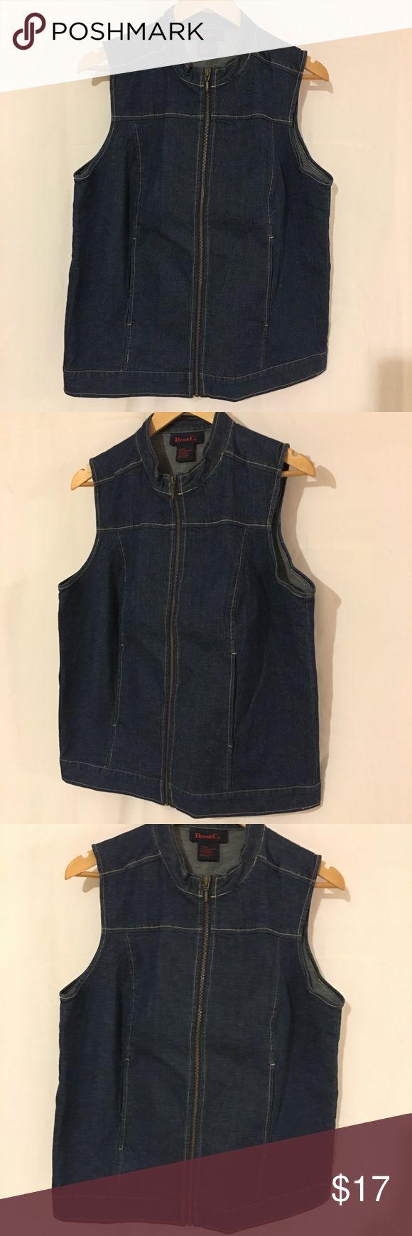 Denim Zip Up Vest Dark Wash Size Large Denim Zip Up Vest Dark Wash Size Large  Please see pictures for measurements.            Ref:binAo#row50ooq Jackets & Coats Vests