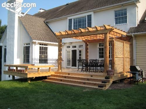 Country Deck With Half Pergola Google Search Deck