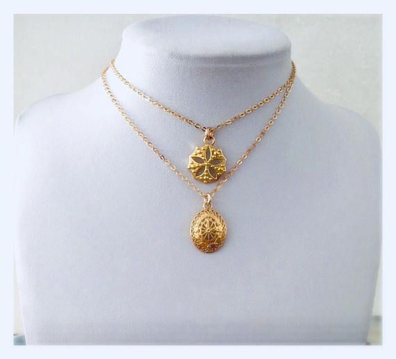 Round gold charm necklace Gold flower pendant necklace Gold round pendant necklace layering gold necklace gift for her brides maid gold necklace. A beautiful classic gold necklaces with a unique gold charms, perfect to layer both together or wear it individually. Can wear it everyday all