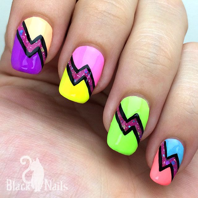 Bright Neon Glitter Lighting Bolt Nail Art. Time to put on your shades! For today's summer lightning nail art I used all 7 of the new faded neons from the KBShimmer 2015 Summer Collection, plus one of the crelly glitters.