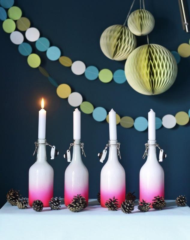 Liukuvärjää lasipulloista näyttäviä kynttilänjalkoja. Make candlestick from bottles.  Unelmien Talo&Koti Kuvaaja ja toimittaja Jutta Rikola