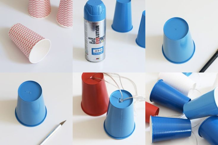 Guirnalda de luces leds hecha con vasos desechables con pintura en spray. Supporting DIY with our spray paints