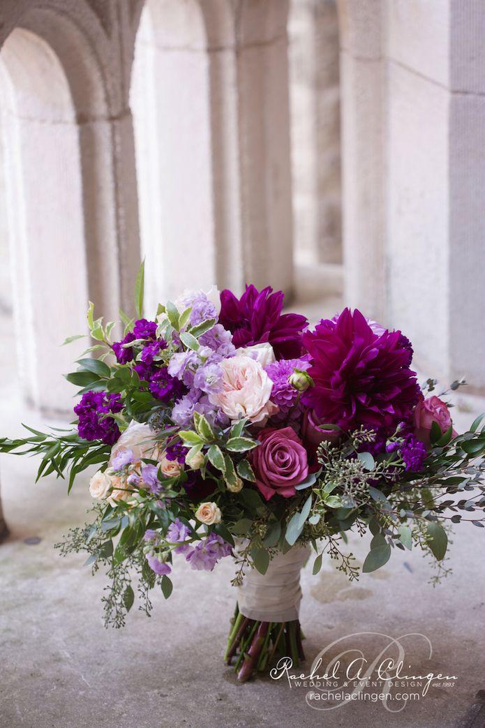 Purple and plum wedding bridal bouquet with garden roses and dahlias by Rachel A. Clingen photo by @elmphotocinema