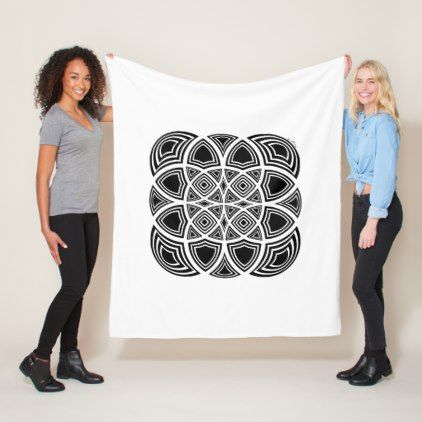 Black And White Geometric Fractal Design Fleece Blanket - black and white gifts unique special b&w style