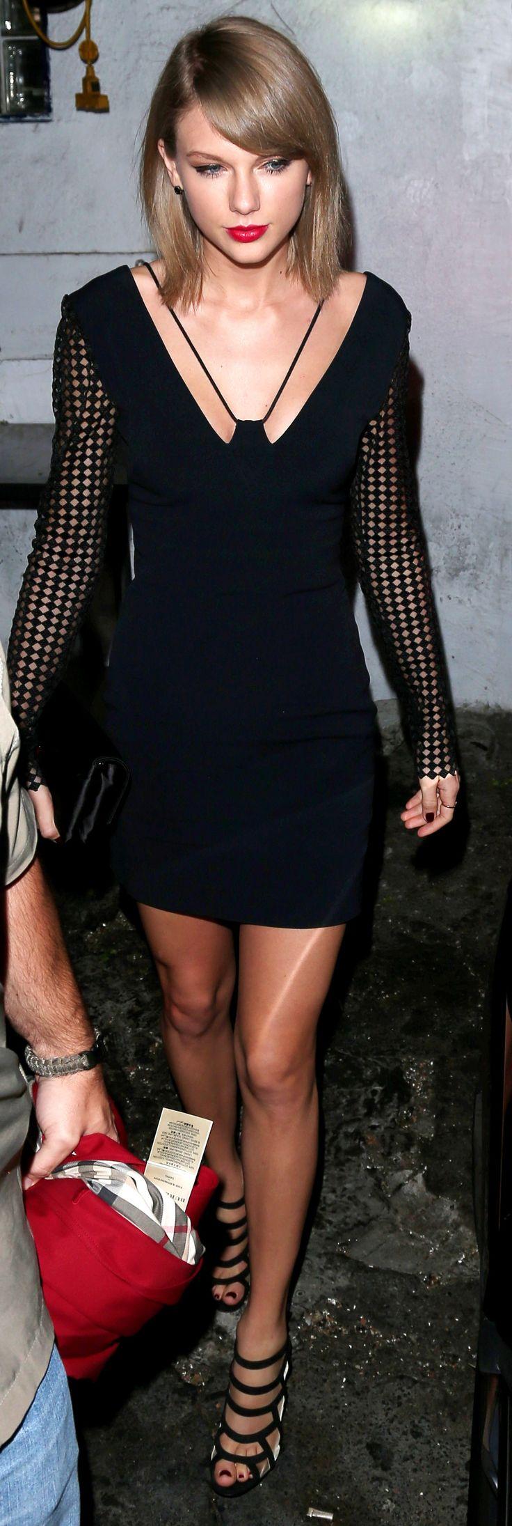 Taylor Swift ; Leaving The Little Door restaurant, Los Angeles, November 2015 ; David Koma dress, Christian Louboutin heels, Christian Louboutin clutch & Burberry Trench Coat