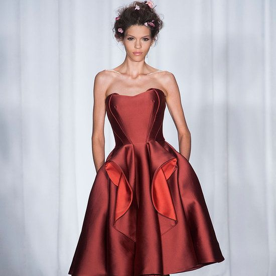 The beautiful red velvet dress of Picky Dress of the Day comes from the wonderful runway of Zac Posen NYFW Spring 2014.
