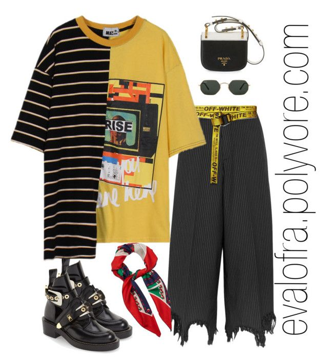 """""""Untitled #1003"""" by evalofra ❤ liked on Polyvore featuring Facetasm, Ray-Ban, Balenciaga, Gucci, Off-White, Momewear, Prada, outfit and ootd"""