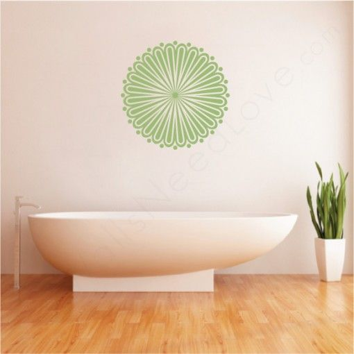 whirly wheel wall decal in the bathroom