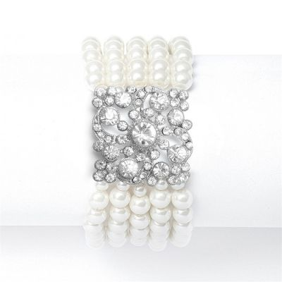 Nikki Bridal Bracelet : Multi-Row Pearls with Vintage Detail (Ivory) | www.glamadonnashop.com.au
