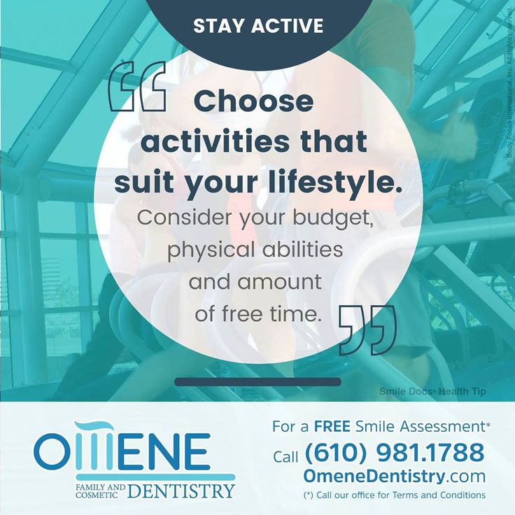 #HealthyTip — Stay active... Make it a priority... / For a Free Smile Assessment*, please call (610) 981-1788 - www.omenedentistry.com / (*) Please call our office for Terms & Conditions. #SmileDocs #SmileDeals #dental #practice #confidence #cosmetic #job #paoli #pennsylvania #tmj #services #implant #dentistry #invisalign #zoom #whitening #dentalcare #dentalfiller #preventive #dentist #oral #teeth #smile #facebooktips