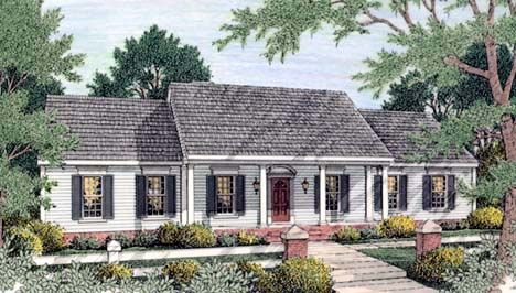 Colonial Ranch House Plan 40022 Cars Bathroom And Garage