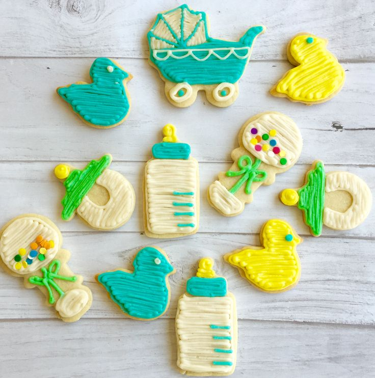 Baby Boy Shower Cookies. Carriages, ducks, rattles ...