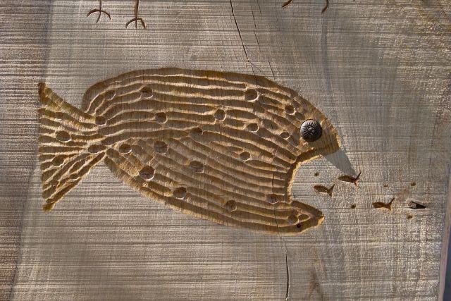 varnished carving