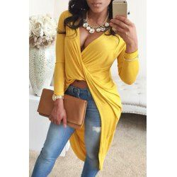 Novelty Solid Color Front Criss-Cross Ruched Asymmetric T-Shirt For Women | TwinkleDeals.com