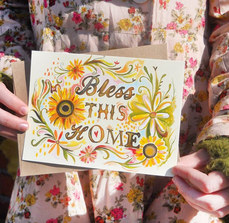 Bless This Home 5x7 Greeting Card. $6.00, via Etsy.