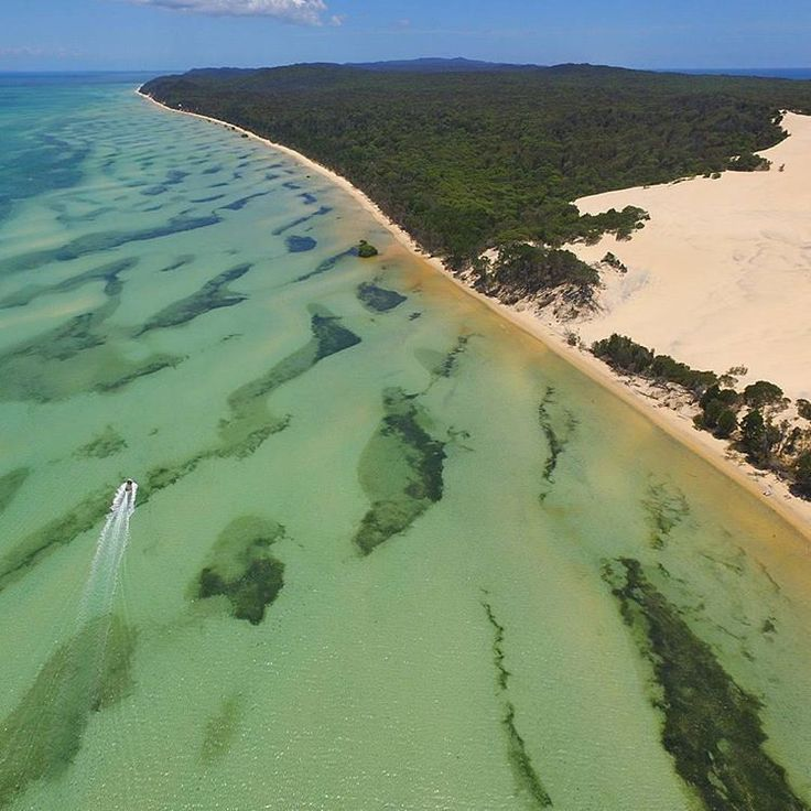 Moreton Island, Australia. 95% of the island is contained within a national park and a popular destination for day trippers, four wheel driving, camping, recreational angling and whale watching and just a 75-minute ferry ride from Brisbane.