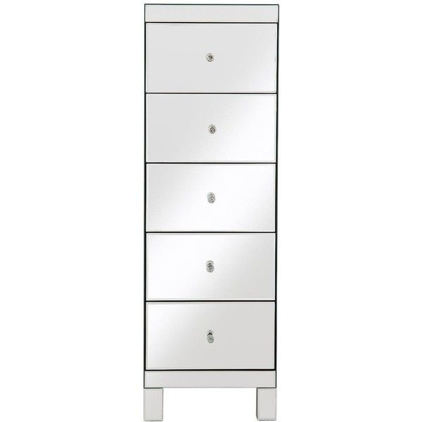Parisian Ready Assembled Mirrored Tall Chest Of 5 Drawers ($230) ❤ Liked On  Polyvore