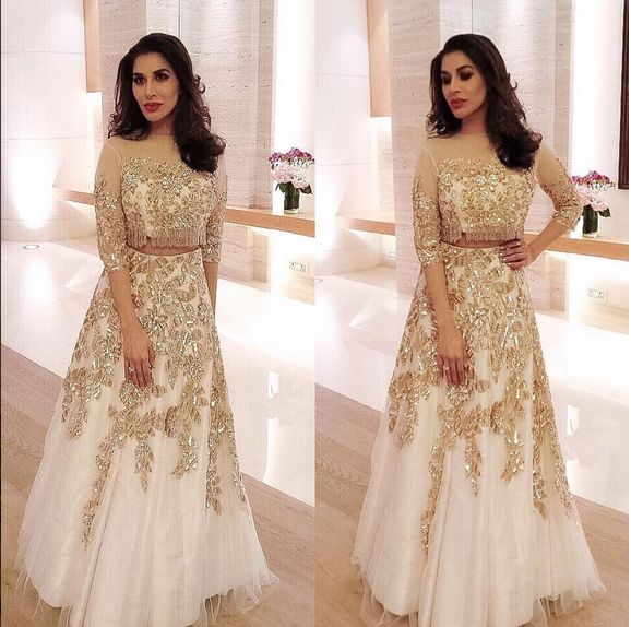 Sophie Choudry In An Embroidered Top With Lehenga Skirt ,Designed By Manish Malhotra.