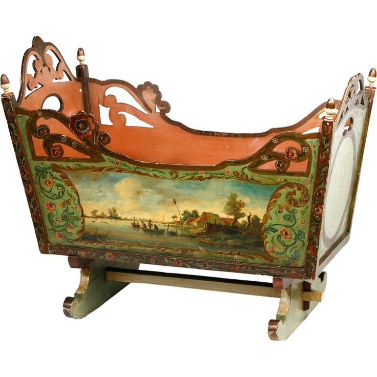 1830's Hand Painted Antique Cradle ~ Holland: Paintings Furniture, Antiques Cradles, Hands Paintings, Paintings Cribs, Paintings Antiques, Children Furniture, Antiques Dolls, Vintage Furniture, Paintings Cradles