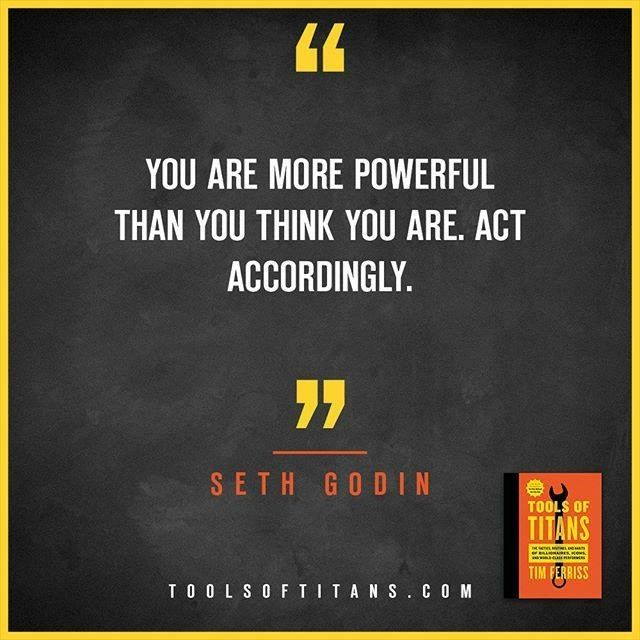 "Click to find more Quotes from Tim Ferriss' book! And to see my review of ""Tools of Titans"". This an inspirational quote by Seth Godin that you can find in Tim Ferriss new book Tools of Titans. A great book for entrepreneurs, full of productivity, health, wealth, tips and habits!"