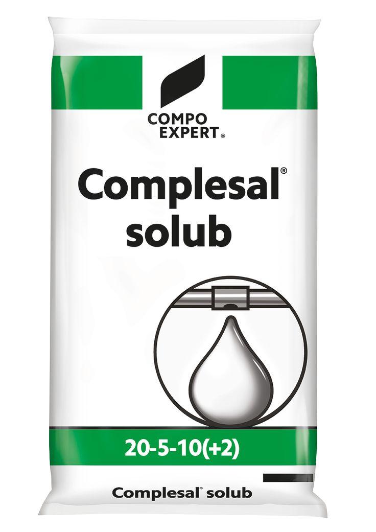 Complesal Solub 20-5-10 Σύνθεση: 20-5-10 +2MgO+IXN  Πλήρες λίπασμα με αυξημένη συγκέντρωση σε άζωτο και παρουσία μαγνησίου και ιχνοστοιχείων. Ιδανικό για τα πρώτα στάδια κάθε καλλιέργειας γιατί παρέχει αρκετές μονάδες αζώτου και μονάδες από τα υπόλοιπα θρεπτικά στοιχεία.  Συσκευασία: σάκοι των 25 κιλών.