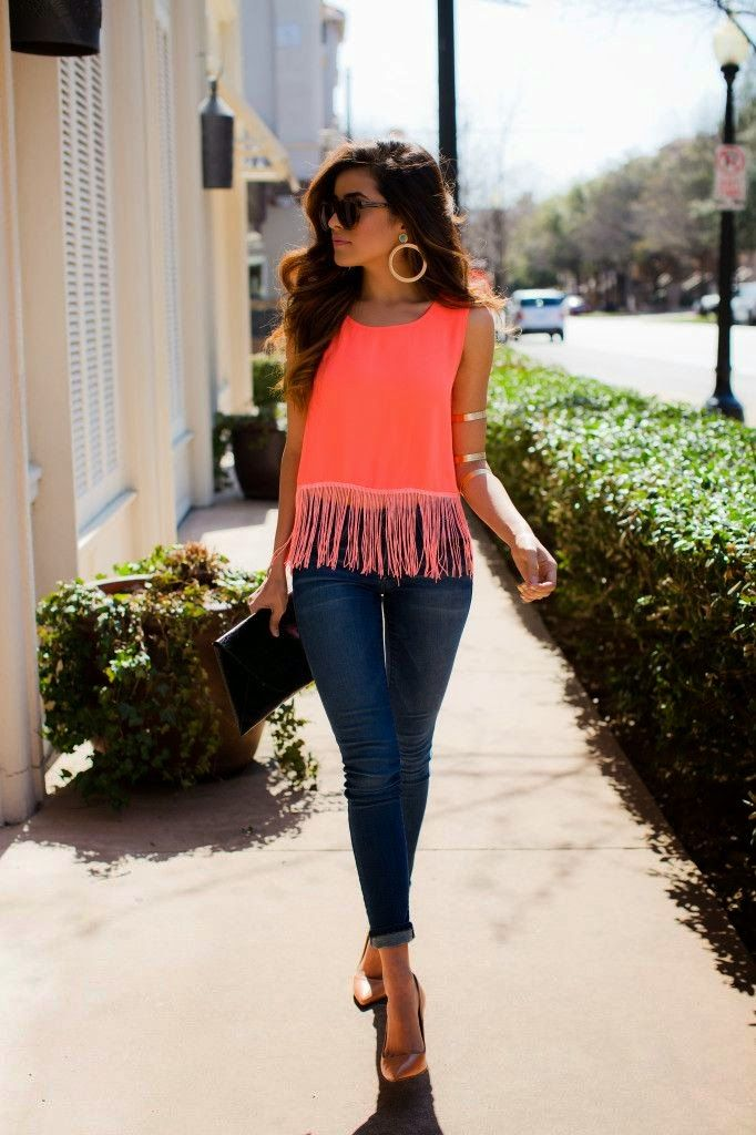 This Sleeveless Neon Color Shirt With Jeans Cool Outfit