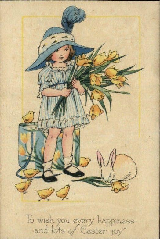 Gibson Easter Girl Daffodils Chicks Rabbit Greeting c1910 Postcard | eBay