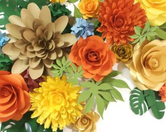 Set of 13 Large Paper Flowers Paper Flowers Paper by MioGallery
