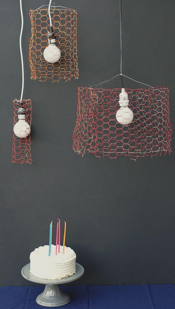 DIY chicken wire pendants