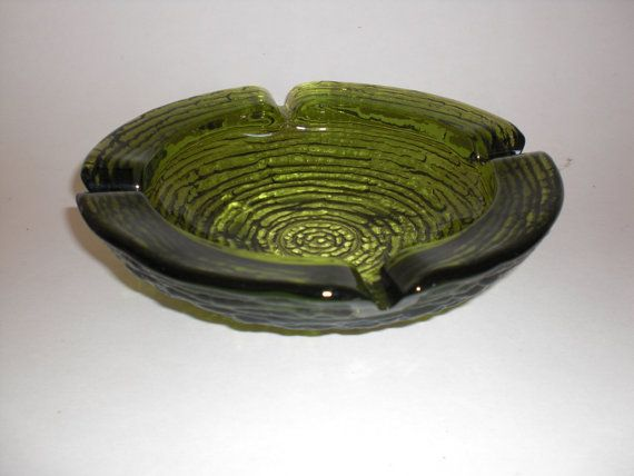 Vintage Anchor Hocking SORENO avocado green AshTray on Etsy, $12.00