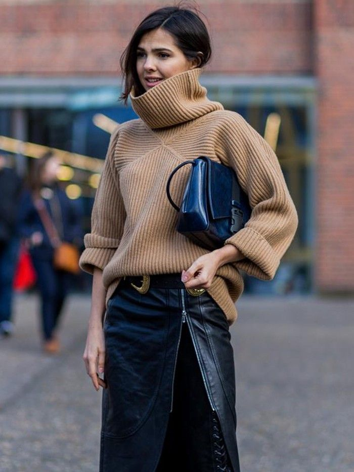 INSPIRATION: Chunky oversized turtlenecks tucked into chic leather skirts! Yes, please!