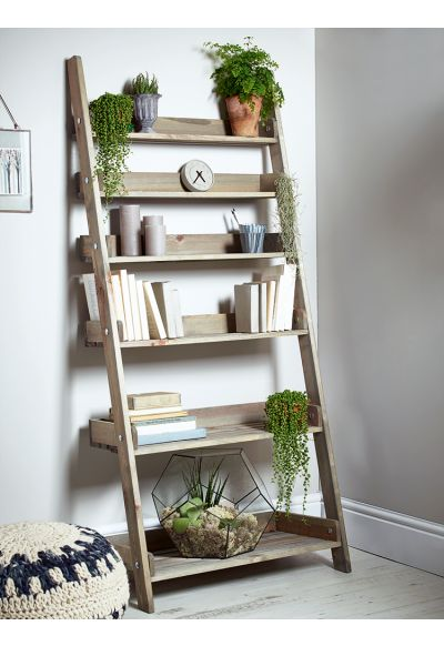 Rustic Wooden Ladder Shelf - Wide - Storage