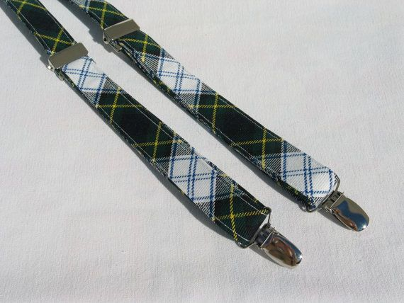 Dress Gordon Tartan Suspenders White and Greeen by dolldressedup