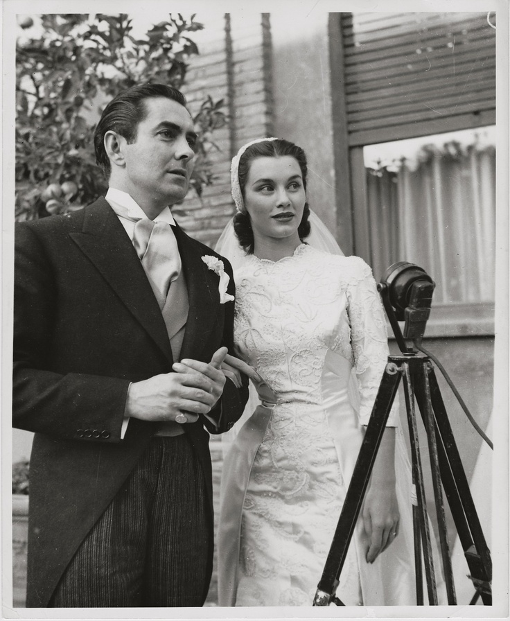Linda Christian marrying Tyrone Power ~ ORIGINAL 1949 photo