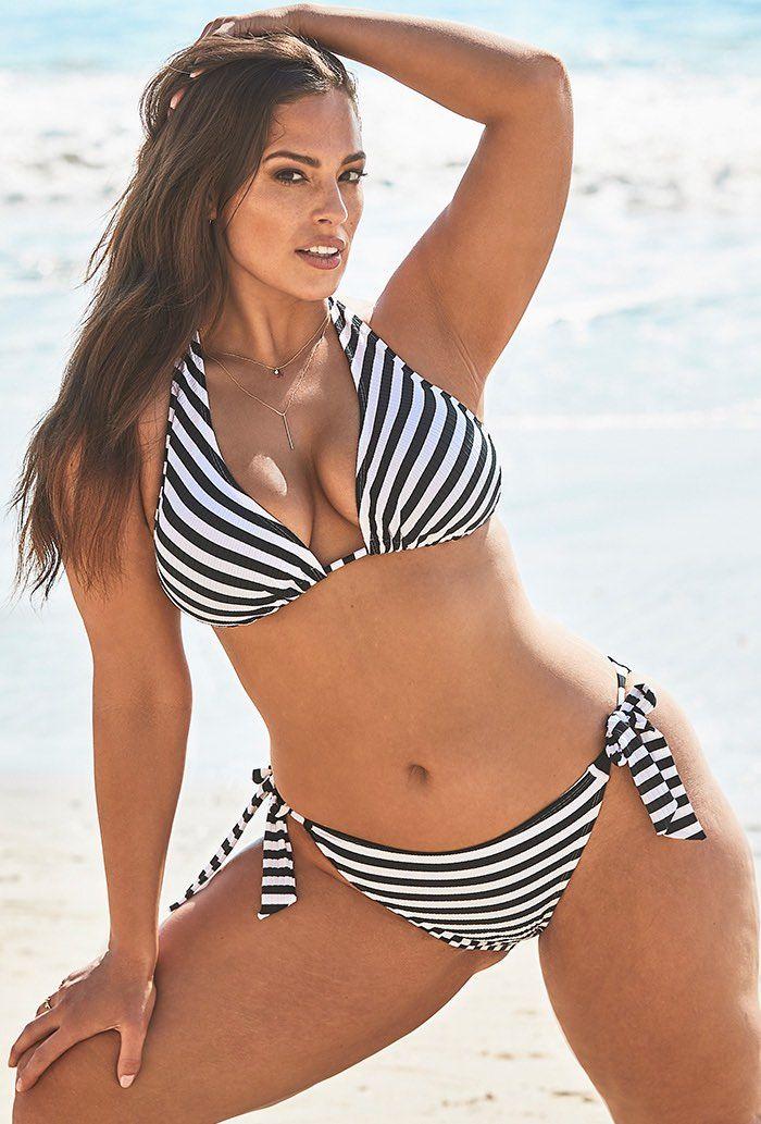 Ashley Graham x Swimsuits For All Elite Striped Ribbed Triangle Bikini