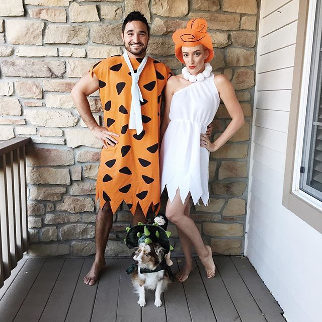 Pin for Later: 14 Stylish Costumes Already Approved by Your Favorite Fashion Bloggers Kimberly Pesch as Wilma Flintstone Couples costumes, unite! Kimberly Pesch of Eat Sleep Wear teams up with her partners in crime for a Flintstones ensemble.