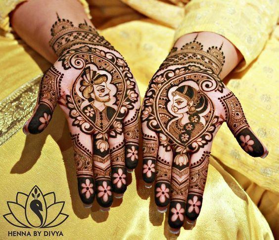 how to draw bride groom mehndi
