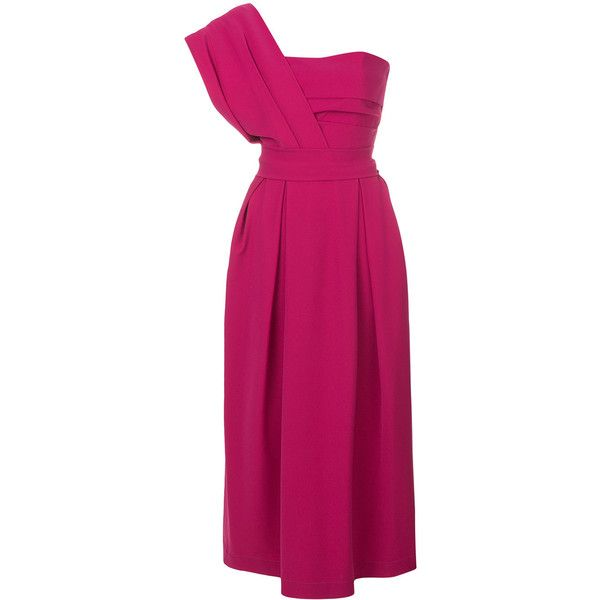Preen By Thornton Bregazzi Ace dress (€1.140) ❤ liked on Polyvore featuring dresses, fitted waist tops, pink dress, pink pencil dress, straight dress and long pink dress
