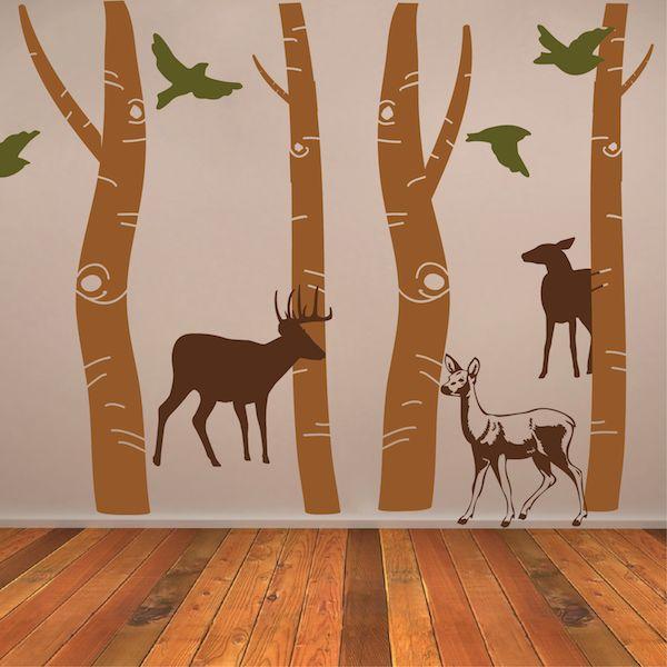 Birch tree trunk wall designs trees wall art designs for Tree trunk wall art