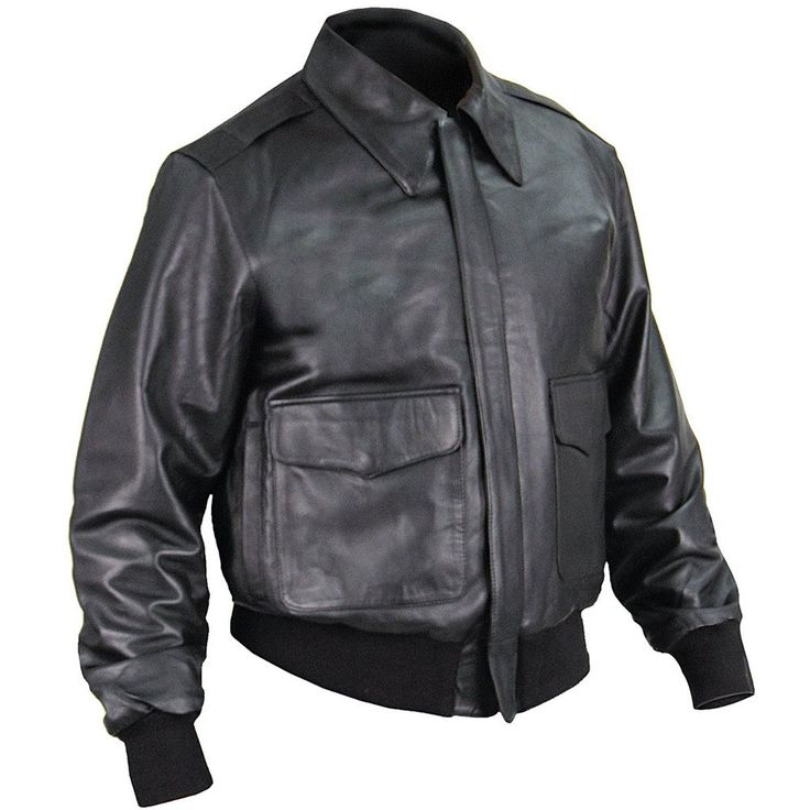 """A-2 Leather Flight Jacket US Government Spec : The A-2 Leather Flight #Jacket was issued during #WWII to Army Air Corps pilots and bomber crews. This style was made even more popular by movies and TV shows like """"Hogan's Heroes"""" and """"A-Team"""" and on stars such as John Wayne, Gregory Peck, Frank Sinatra, and Jason Statham."""