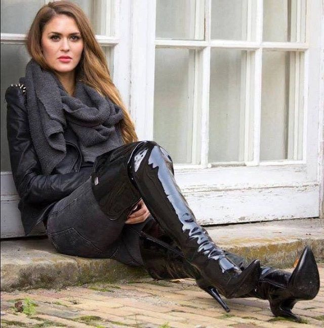 Studded black leather jacket and patent leather thigh boots #highheelbootsandjeans