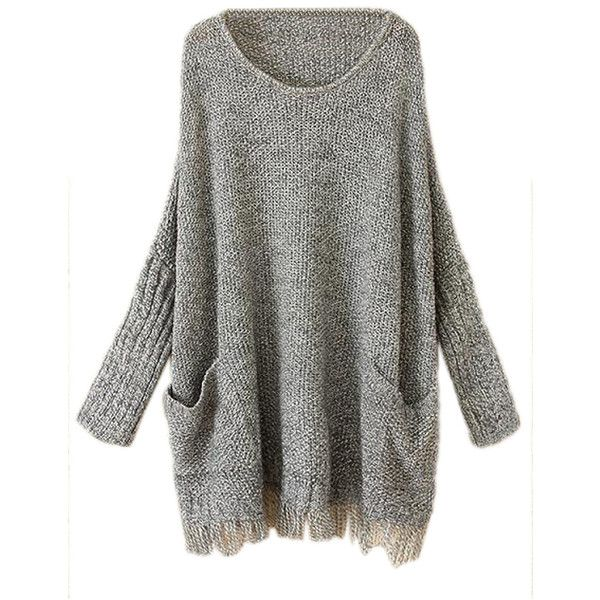 Pink Queen Gray Ladies Fringe Batwing Sleeve Oversized Pullover... (€38) ❤ liked on Polyvore featuring tops, sweaters, shirts, dresses, jumper, grey, gray oversized sweater, oversized grey sweater, pullover shirt and grey shirt