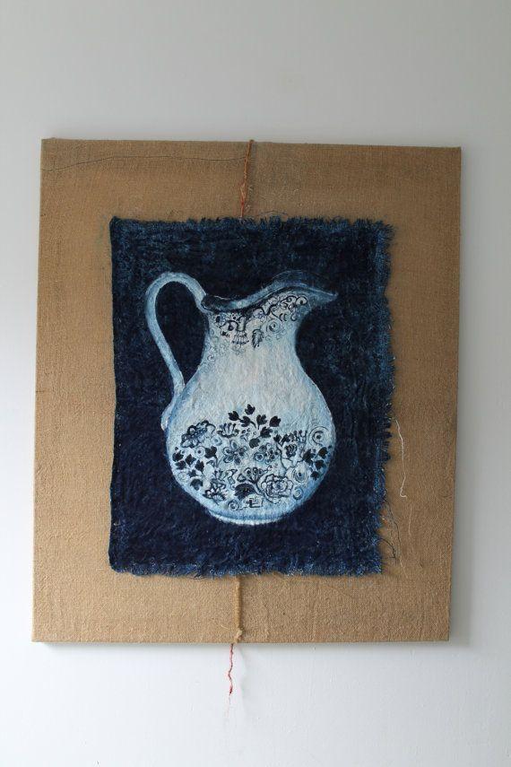 Blauw handgeschilderd jute eitempera schilderij door Kunstwarenhuis