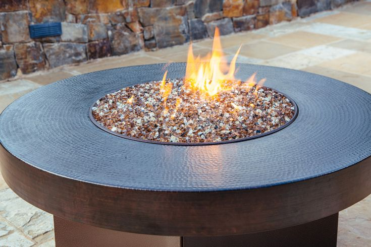 Copper Fire Table, Hammered Copper Gas Fire Table, Oriflamme