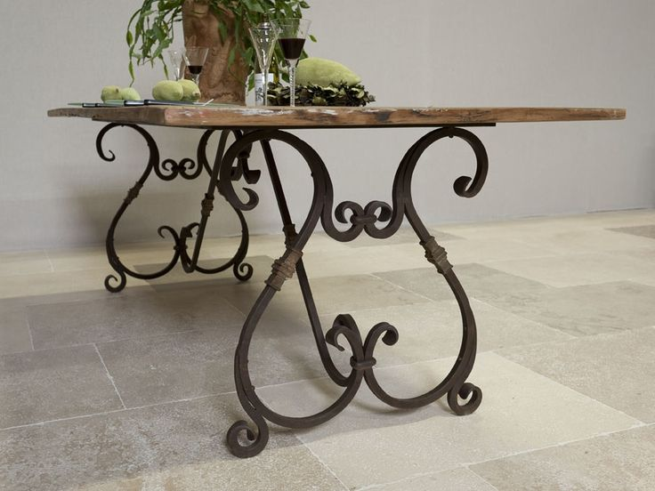 Table with wrought iron legs furniture pinterest for Rod iron legs