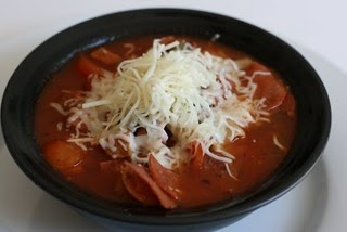 Pizza soup, crockpot, freeze ahead ingredients. Toss pasta and cheese in 30 before serving.