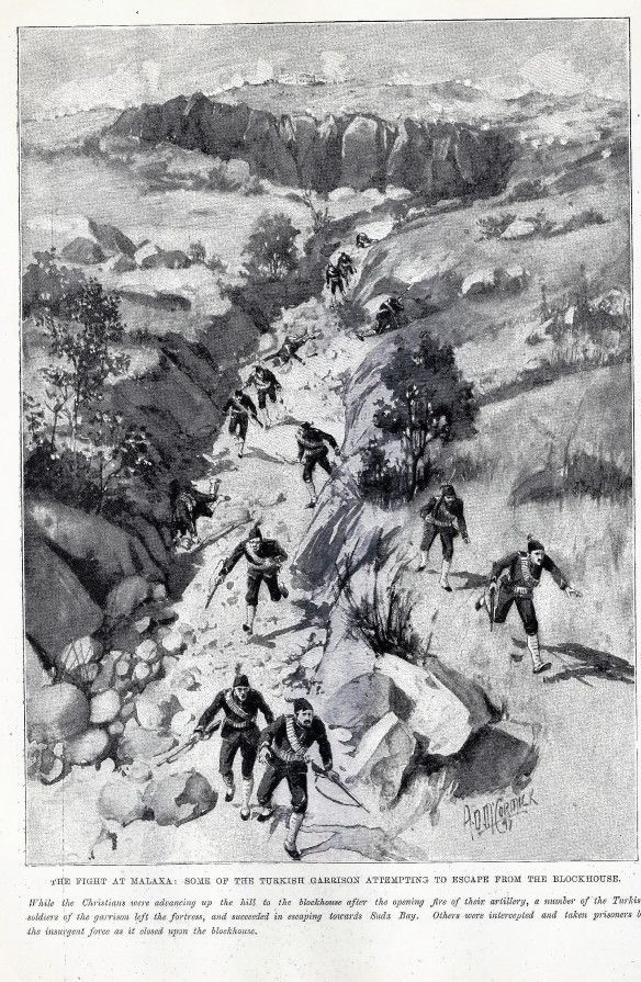 Ottoman troops fleeing from Malaxa blockhouse.