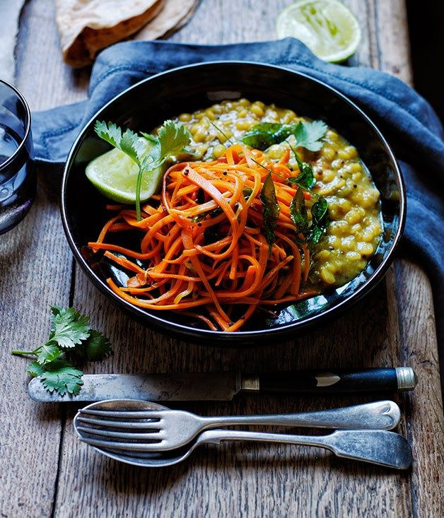 Recipe for yellow split pea and carrot dhal.